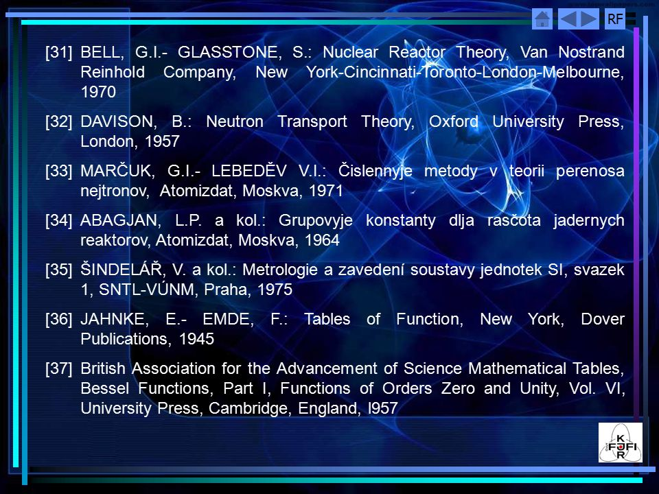 [31] BELL, G.I.- GLASSTONE, S.: Nuclear Reactor Theory, Van Nostrand Reinhold Company, New York-Cincinnati-Toronto-London-Melbourne, 1970